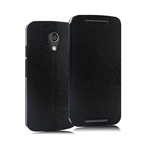 Heartly Premium Luxury PU Leather Back Case Cover For Moto G 2nd Gen XT1068 (Black)