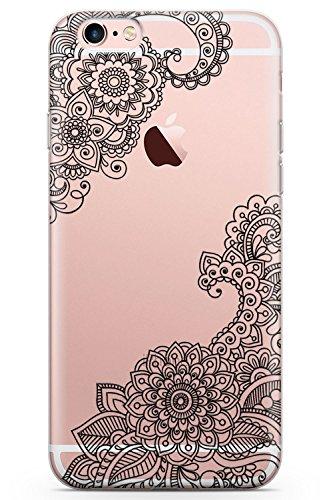 Case Warehouse iPhone 6 / 6s Schwarzes Henna Schutz Gummi Handyhülle TPU Bumper Spitze Tatoo Mandala Mehndi Blumen (Tattoos Iphone 6 Fall)