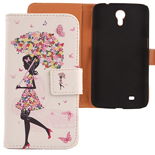 Lankashi PU Flip Leder Tasche Hülle Case Cover Schutz Handy Etui Skin Für Samsung Galaxy Mega 6.3 i9200 Umbrella Girl Design (Cover Für Samsung Galaxy Mega 2)