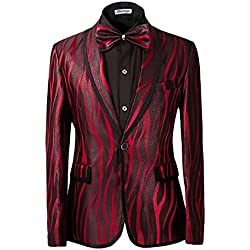 Traje de 2piezas para hombre estampado de cebra en color burdeos y marrón rojo rosso Large