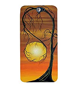 For HTC One A9 old tree, sun, moon, nice tree, circle Designer Printed High Quality Smooth Matte Protective Mobile Pouch Back Case Cover by BUZZWORLD
