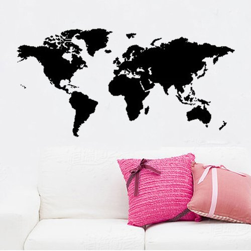 ColorfulHall Transfers tatouage57 cm x 223 cm + 57 cm x 220 cm Grand Globale World Map Wall cker D ¨ ¦ COR Grafik Wand DIY viautocollant