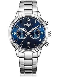 Rotary - Reloj de cuarzo para hombre, correa de acero inoxidable, color plata