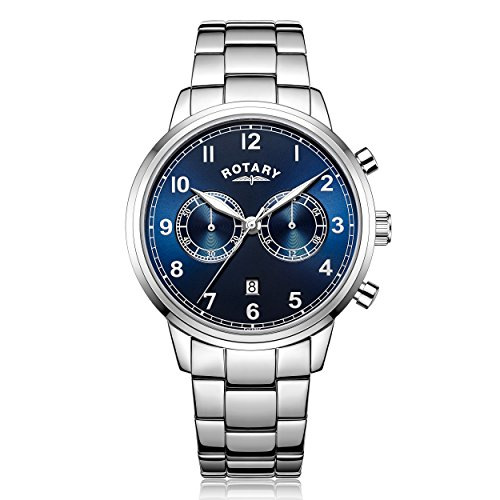 Rotary-Mens-Quartz-Watch-with-Blue-Dial-Chronograph-Display-and-Silver-Stainless-Steel-Bracelet-GB0033805