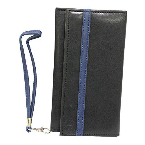 Jo Jo A5 Nillofer Leather Wallet Universal Pouch Cover Case for Spice Mi-506 Stellar Mettle Icon Black Dark Blue