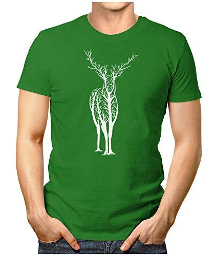 PRILANO Herren Fun T-Shirt - DEER-TREE - Small bis 5XL - NEU Grün