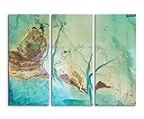 Abstrakte Kunst 130x90 cm 3teiliges Leinwandbild Fotoleinwand blau türkis braun grün gemalt! bestforhome