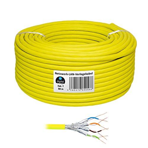 HB Digital Netzwerkkabel LAN Verlegekabel Cabel 50m cat 7 Kupfer Profi S/FTP PIMF LSZH Halogenfrei gelb RoHS-Compliant cat. 7 Cat7 AWG 23/1