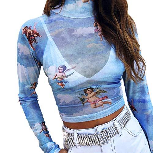 JYJM ✔ Mode Damen Rollkragenpullover Langarm Kleiner Winkel Druck Kurzes Navel Top T-Shirt Damen Kleid Retro 1920s Stil Flapper Kleider voller Pailletten Runder Kleider Damen Kostüm Kleid