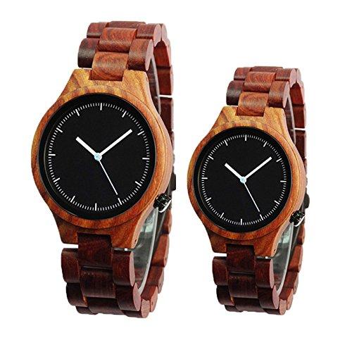Souarts Holzuhr Holzarmbanduhr Analog Qurazuhr aus Bambus Armbanduhr Paar Uhren Uhren für Lover mit Batterie