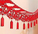 Decoraciones de año nuevo chino Fu Chino Festival de Primavera Casa Decoración buena suerte rojo para colgar guirnalda para salón o dormitorio restaurante decoración paquete de 6