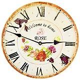 Tinas Collection Orologio da Parete, Orologio Shabby Chic da Parete, Orologio Muro, Orologio per Cucina (Rose)