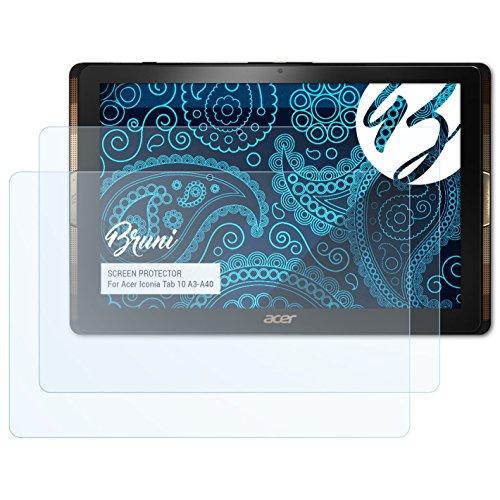 Bruni Acer Iconia Tab 10 (A3-A40) Folie - 2 x glasklare Displayschutzfolie Schutzfolie für Acer Iconia Tab 10 (A3-A40)