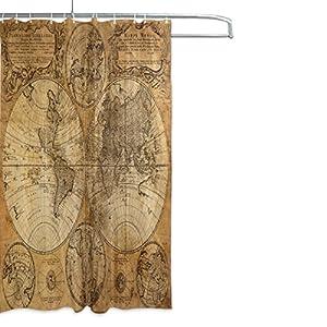 mydaily Vintage mapa del mundo cortina de ducha 66x 72inch, resistente al moho y poliéster resistente al agua–cortina de baño
