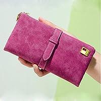 EQLEF® In pelle Nubuck lunga cerniera borsa del portafoglio delle donne di modo di Lady Portafogli