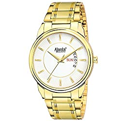Ajantas White Dial Day & Date Golden Analog Wrist Watch AQ-035-W