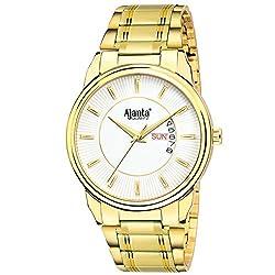 Ajantas White Dial Day & Date Golden Analog Wrist Watch AQ-035-W