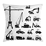 Best Sleep Apnea Machines - Construction Pillow Case Black Silhouettes Concrete Mixer Machines Review