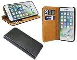 cofi1453 Elegante ECHT Leder Buch-Tasche Hülle für das iPhone 5 / 5S / SE in Schwarz Wallet Book-Style Cover Schale