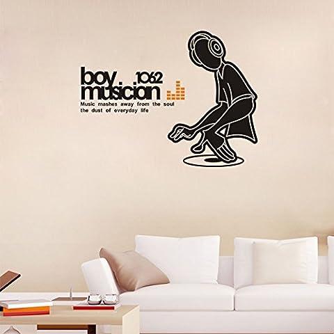 asenart DJ BOY Músico extraíble PVC Adhesivo para pared DIY Decoración del hogar pegatinas tamaño 22