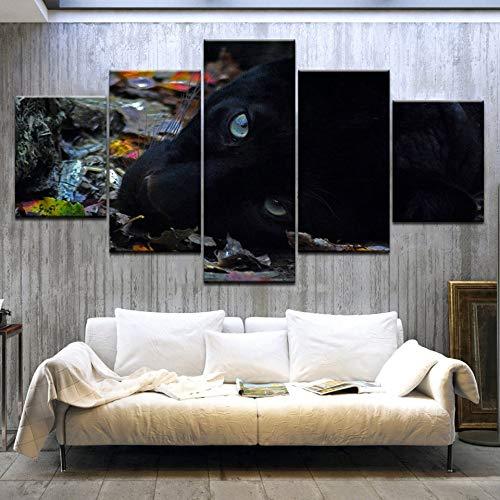 CNCN 5Panel stück HD Gedruckt EIN Schwarzer Hund mit Hellen Augen liegend Tier leinwand malerei Wand Poster Für Wohnzimmer Dekoration 20x35cm20x45cm 20x55cm