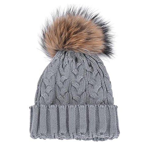 Bonnet, Kolylong® Hiver Femme Crochet Hat Fourrure Laine Cap Chaud Beanie Raccoon Knit Gris