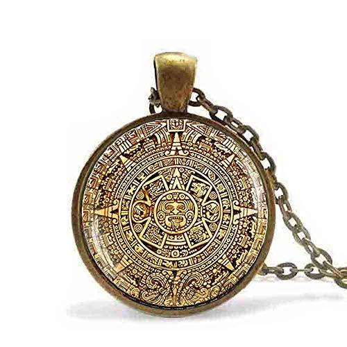 Kalender Mann Kostüm - DADATU Halsketten für Herren Maya Kalender Anhänger Maya Kalender Schmuck, Azteken Kalender Halskette Antike Bronze Kette Astronomie Archäologie Schmuck Für Männer