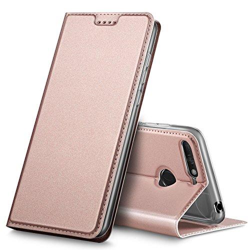 GeeMai DOOGEE X6S Hülle, Premium DOOGEE X6S Leder Hülle Flip Case Tasche Cover Hüllen mit Magnetverschluss [Standfunktion] Schutzhülle handyhüllen für DOOGEE X6S Smartphone, Rosegold