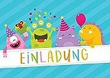 12 Einladungskarten Kindergeburtstag Mädchen Jungen / Jungs lustige Monster Einladungen Geburtstag Kinder Geburtstagseinladungen