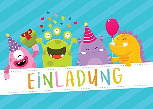 (12 Einladungskarten Kindergeburtstag Mädchen Jungen / Jungs lustige Monster Einladungen Geburtstag Kinder Geburtstagseinladungen)