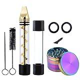 Twisty Glass Blunt Kit für Rauchen - Mini Pipes + Rainbow Grinder + Bürste, Pawaca Safe Durable Easy Cleaning Set