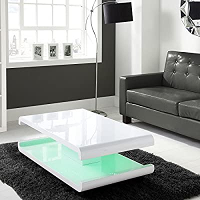 White High Gloss Coffee Table with LED Lighting - cheap UK coffee table store.