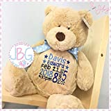 Personalised Brown Bear, Embroidered Stitched in quality teddy bear, new baby girl/christening gift - keepsake, birth stats