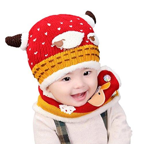 Tefamore sombrero del bebé + bufanda De dos piezas oveja además de terciopelo manga del casquillo tejidos Sombrero suave encantador Para Niños Niño Chica (1-4 Años, Rojo)