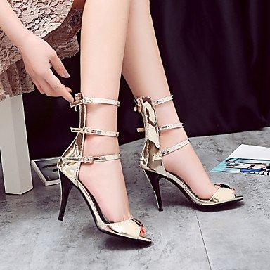 LvYuan Sandalen Sommer Club Schuhe Gladiator Komfort maßgeschneiderte Materialien Hochzeit Party&Abend lässig Stilettferse Schnalle Dark Grey