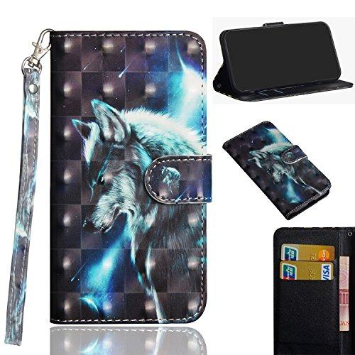 Alcatel 1X Flip Hülle, 3D Muster Hand Strap Case Tasche Magnet Handytasche [Kartensteckplatz] PU Leder Cover mit Ständer Funktion für Alcatel 1X 5059A 5059D 5059I 5059T 5059J 5059 X 5059Y (Wolf)