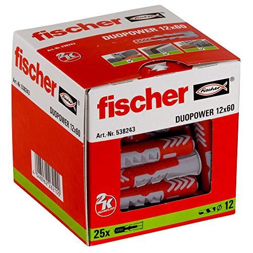 Fischer 12X60 Taco Duopower (Caja de 25 Uds), 538243, Nylon, Gris y Rojo