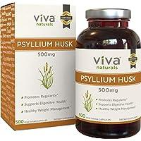 Viva Naturals Bio Psyllium Schale, 500mg, 500 vegetarische Kapseln - die beste Ballaststoff Supplement für optimale... preisvergleich bei billige-tabletten.eu