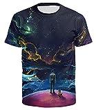 Ocean Plus Uomo Segno Divertente Galassia T-Shirt a Manica Corta Maglietta Sportiva Stampa Animali Top Divertente Leone Tee Shirt (S (Tag M), Adolescente e Cane)