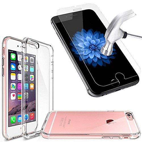 iPhone 6/6S Fall TPU Gel Fall [Drop Schutz/Shock Absorption Technology] für Apple iPhone 6/6S Cover mit Apple iPhone 6/6S gehärtetem Glas Displayschutzfolie. Komplett Pack 2in1Fall & Tempered Glas f durchsichtig