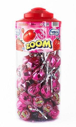 vidal-mega-strawberry-zoom-lollipops-tub-of-50