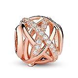 Galaxy, Clear Charms en argent sterling 925 avec CZ Pandora, bracelets européens Compatible (Rose Gold Plated)