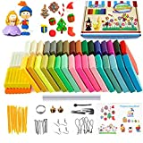 Polymer Clay, 36 Colors Oven Bake Clay DIY Safe and Nontoxic Colorful Soft Moulding Craft Set, Rolling Pin with 14 Sculpture Tool Accessories and Manuals