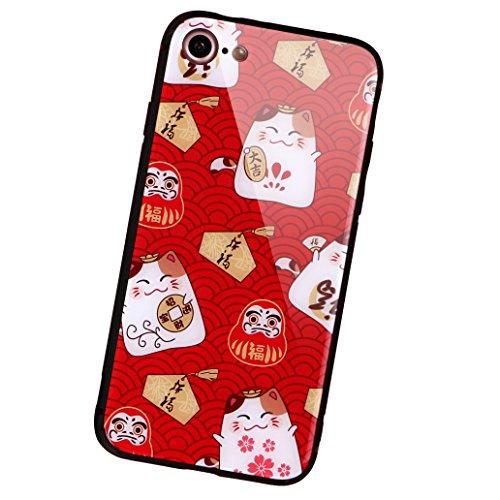 aichose iPhone 7Fall, iPhone 8Fall, Luxus Fortune Cat für Ihr Handy Neue Jahr, Tempered Glas Back Cover mit Soft TPU Bumper Rahmen Stoßdämpfung bietet Starken Schutz, iPhone 7/8, FortuneCat B -