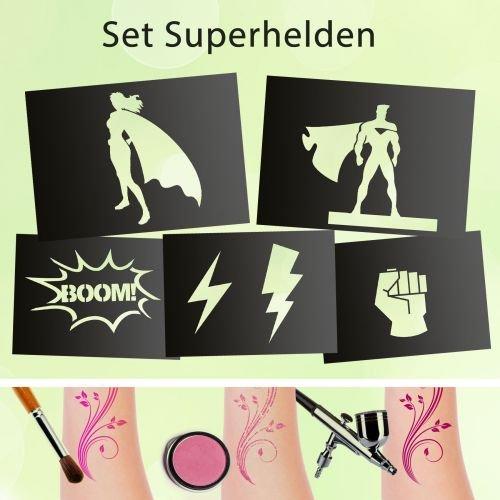 Tattoo Schablonen SET Superhelden (5 Stück) Selbstklebend Kinderschminken Airbrush