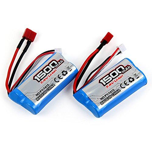 LiDi RC 7.4V 1500mAH 2S 25C wiederaufladbare Lithium-Batterie für 1/12 Skala Fernbedienung Fahrzeug T-Stecker für FY-10, FY-11, FY-01, FY-02, FJ-03, Charge-4, X-King-5