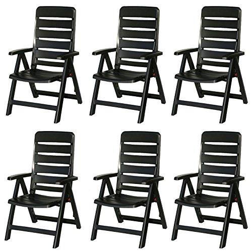 6 Kettler Nizza Gartenstühle in anthrazit Klappsessel Gartenmöbel Sessel - Kettler Gartenmöbel