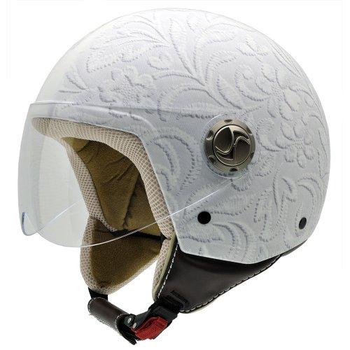 NZI 490004G327 Zeta Graphics Brocado White, Casco da Moto, Fotografia Tessuto Broccato Bianco, Taglia L - Moto Graphic Design
