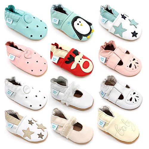 Chaussures de bébé en cuir souple - garçons et filles - Dotty Fish - Cadeaux Parfaits - 0-6 mois à 3-4 ans Étoiles blanches et bleues