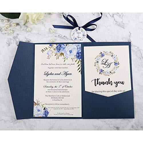 AOWEIRILUV 50 Stück blau rosa Grußkarten mit Umschlag Hochzeitsfest Einladungskarte